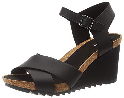 Clarks Flex Sun, Sandali con Cinturino alla Caviglia Donna, Nero (Black Leather Black Leather), 41 EU