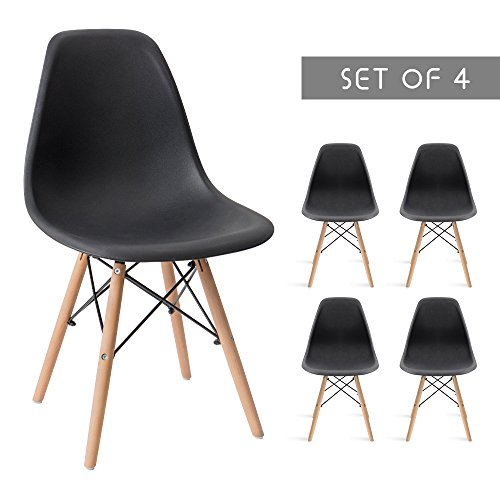 Devoko Modern Dining Chairs Mid Century Pre Assembled DSW Chair Classic Shell Lounge Plastic Side Chairs for Dining Room, Kitchen, Living Room Set of 4 (Black)