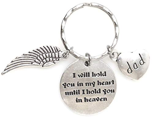 I Will Hold You in My Heart Until I Hold You in Heaven Angel Wing Bereavement Memorial Sympathy Loss of Loved One for Son or Daughter Dad, Keychain 112B