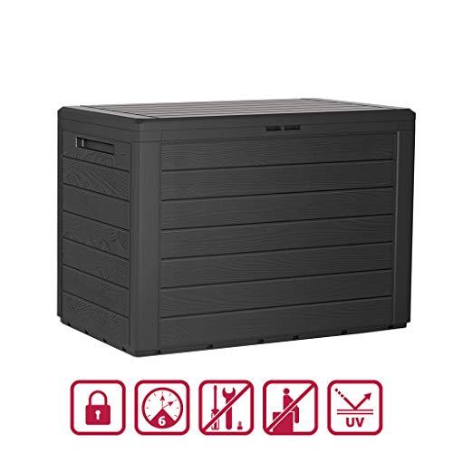 Kreher Kompakte Kissenbox/Aufbewahrungsbox in Anthrazit mit 190 Liter Nutzvolumen. Robust, abwaschbar und einfach im Aufbau!