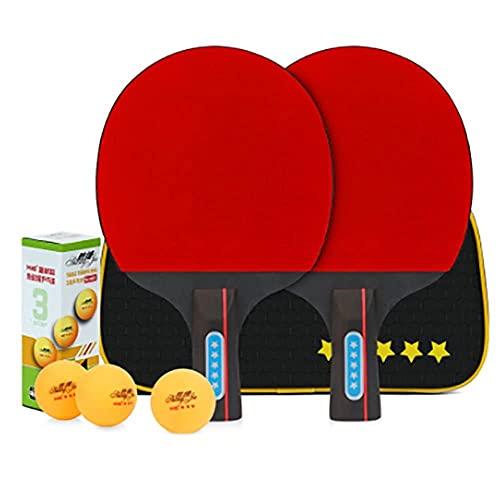 Juego de pádel de ping pong de mesa - 2 raquetas 3 bolas profesional de tenis de mesa de recreo | Paquete de raquetas para juegos familiares en el hogar-D