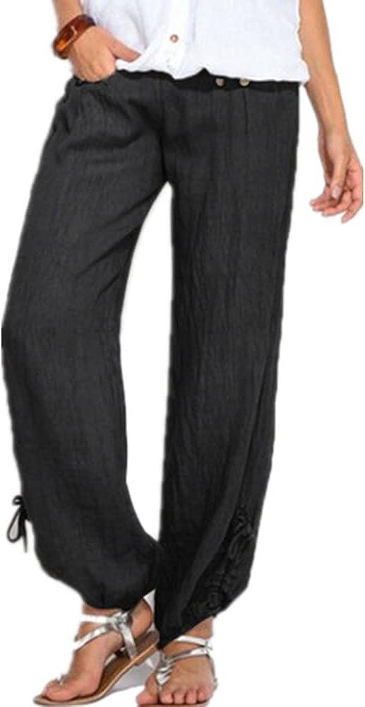 NP Women Black Button Cotton Linen Pants Casual Loose Trouser Wide Leg Pants Summer