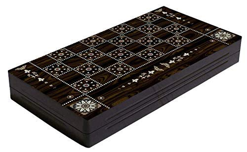 Chessgammon BACKGAMMON BOARD SET LARGE WOODEN FOLDABLE STORAGE TRAVEL HOLIDAY ADULT KIDS FAMILY TRADITIONAL BOARD GAME PEARL DESIGN WITH DOUBLING DICES