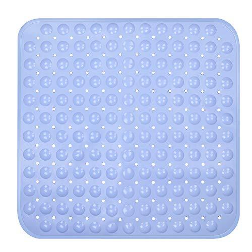 OUTOPE Duschmatte, Antirutschmatte Dusche für Kinder, Quadratisch Duscheinlage Duschmatte rutschfest mit Saugnäpfen 54 X 52cm, Hellblau
