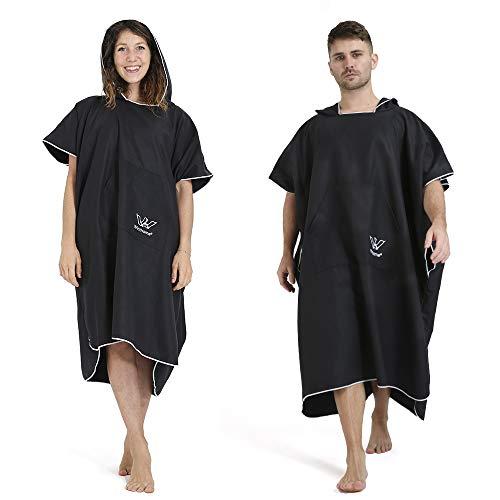 Winthome Badeponcho, Mikrofaser Poncho Handtuch Schnelltrocknend Bademantel Kompakt Leicht Umziehhilfe Strand für Schwimmen Wassersport(schwarz, XL)