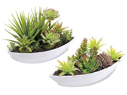 Piante grasse artificiali set da due vasi centrotavola con piante grasse realistiche