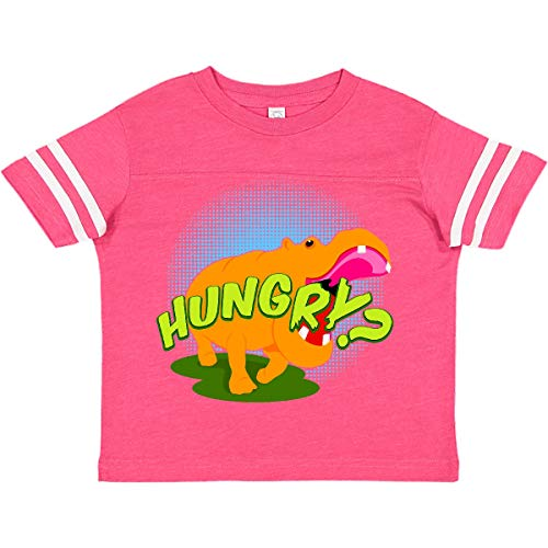 inktastic Hungry Hippo Toddler T-Shirt 2T Football Pink and White 11245