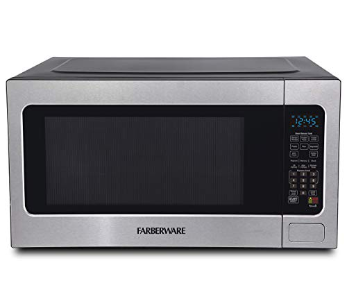 Farberware Professional FMO22ABTBKA 2.2 Cu. Ft. 1200-Watt Microwave Oven with Smart Sensor Cooking, ECO Mode and Blue LED Lighting, Stainless Steel (Renewed)