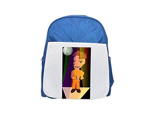 Un niño que baila en el disco. Mochila azul infantil estampada, bonitas mochilas, lindas mochilas pequeñas, bonita mochila negra, mochila negra, mochilas de moda, grandes mochilas de moda, moda negra