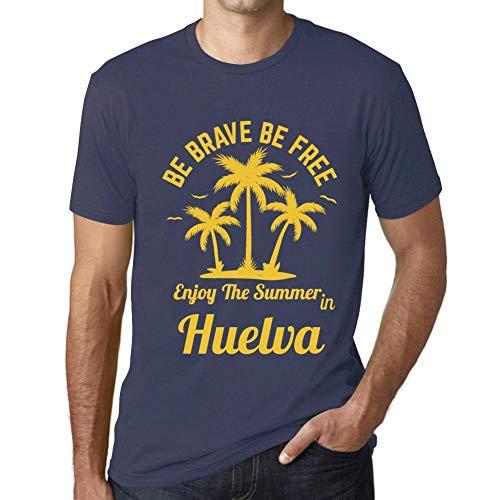 Hombre Camiseta Gráfico T-Shirt Be Brave & Free Enjoy The Summer Huelva Azul Oscuro