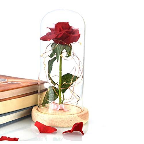 Logicstring Romántica Lámpara De Noche Led con Pilas Rosa Roja En Una Cúpula De Cristal sobre Una Base De Madera Regalos Dulces para El Día De San Valentín Decoración De La Habitación