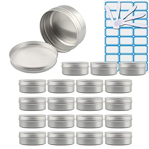 ZEOABSY20 Piezas Tarros de Aluminio con Tapa Rosca 150ml,Plata Tarros de Aluminio Vacíos Redondo para Contenedor De Cosméticos CremasCaja de almacenaje con5 Espátula y 1Etiqueta
