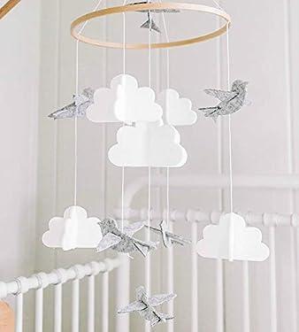 Baby Crib Mobile by Sorrel & Fern - Birds & Clouds- Felt Nursery Ceiling Decoration for Girls & Boys   Grey & White  
