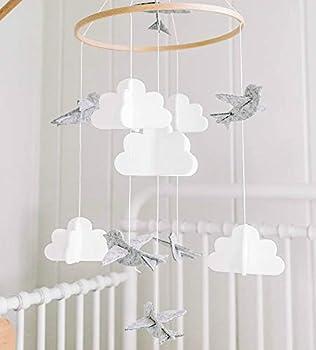 Baby Crib Mobile by Sorrel & Fern - Birds & Clouds- Felt Nursery Ceiling Decoration for Girls & Boys | Grey & White |