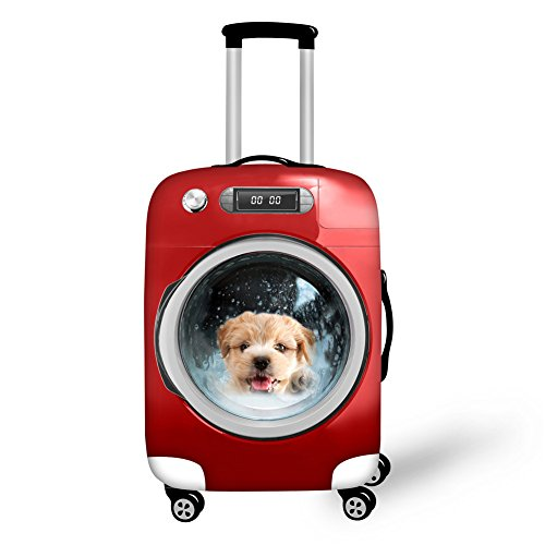 HUGS IDEA Womens Red Pet Dog Print Thick Protective Dust Covers for M Size Travel Cases