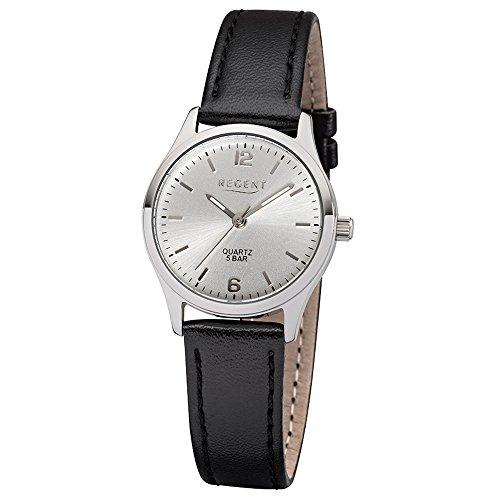 Regent Damen-Armbanduhr Elegant Analog Leder-Armband schwarz Quarz-Uhr Ziffernblatt silber UR2113415