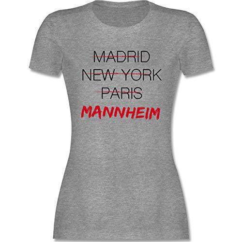 Städte - Weltstadt Mannheim - M - Grau meliert - Typo-Grafie - L191 - Tailliertes Tshirt für Damen und Frauen T-Shirt