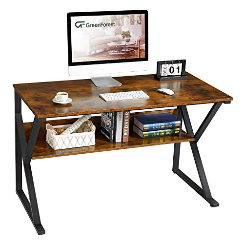 GreenForest Computer Desk with Bookshelf 47' Industrial Gaming Writing Desk Space Saving Study...