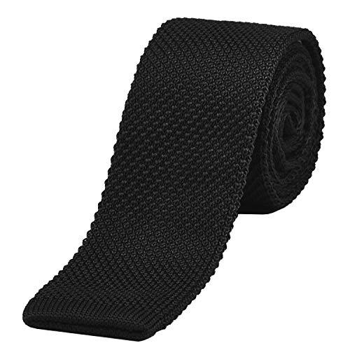 DonDon schmale Strickkrawatte schwarz 5 cm