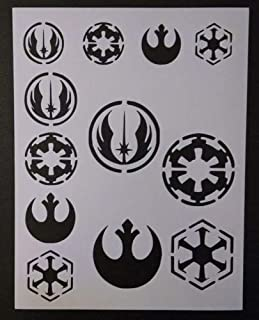 Harissa Star Wars Rebel Empire Sith Jedi Logo Seal 8.5'', x 11'', Stencil Fast Reusable, Sturdy, Cut Stencil Sheet (not Paper)