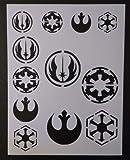 Harissa Star Wars Rebel Empire Sith Jedi Logo Seal 8.5'', x 11'', Stencil Fast Reusable, Sturdy, Cut Stencil Sheet (not Paper)