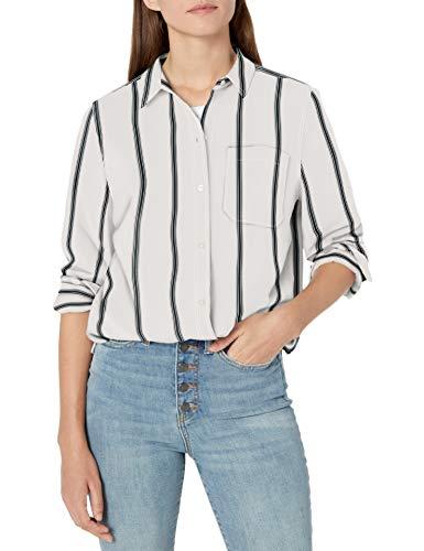 Amazon Brand - Goodthreads Women's Lightweight Twill Oversized Boyfriend Shirt, Off- Off-White/Asphalt Stripe, Large