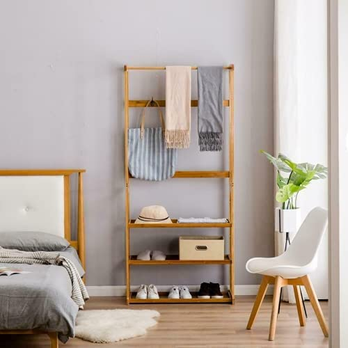 Columbus Mall WUIIEN Bamboo Coat Rack 3-Layer Storage Placed trend rank can in be T