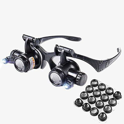 YSM Geschäft LED 2-Kopf-Lupe, Doppel-Augenkopf mit Lupe Juwelier Uhr Uhr reparieren Lupe mit 2.X bis 25X acht Gruppen Objektiv
