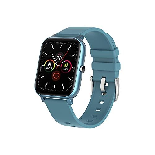 KaiLangDe Smartwatch Reloj Inteligente con Pulsómetro Cronómetros Calorías Monitor De Sueño Podómetro Monitores De Actividad Impermeable Reloj Deportivo For Android iOS Pulsera (Color : Blue)