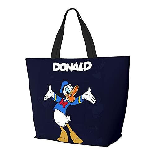 Donald Duck - Bolso de mano con diseño de dibujos animados, asa de hombro, estilo simplicidad, gran capacidad, bolsa de compras, gimnasio, playa, viajes, diario, unisex, plegable