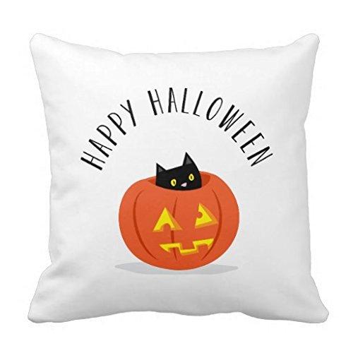 Nvfshreu Joyeux Halloween Chat Noir Jack O Lantern Citrouille Coussin Simplicité Simple Style Mode Confortable Chic Usage Quotidien (Color : Colour, Size : Size)