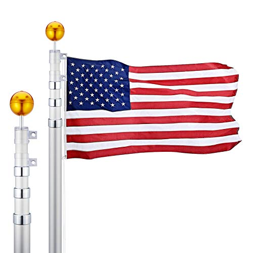 CO-Z 16 Feet Aluminum Telescoping Flag Poles with 3-Feet-by-5-Feet American Flag, Golden Ball Finial, PVC Sleeve and Hooks & Screws