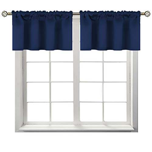 BGment Rod Pocket Valances for Kitchen- Thermal Insulated Room Darkening Tier Valance Curtain for Dinning Room, 42 x 18 Inch, 2 Panels, Navy Blue