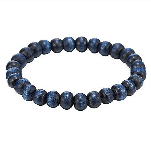 COOLSTEELANDBEYOND Pulsera de Azul Madera, Brazalete de Hombre Mujer, 9mm Tibetan Beads Buddhist Prayer Mala, Estirable