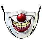 (H) おもしろマスク クレイジーピエロ 道化師 面白い 変顔マスク 洗える 布 大人用 変装 ハロウィン 仮装 被り物 コスプレ 衣装 パーティーグッズ おもしろ雑貨 人気