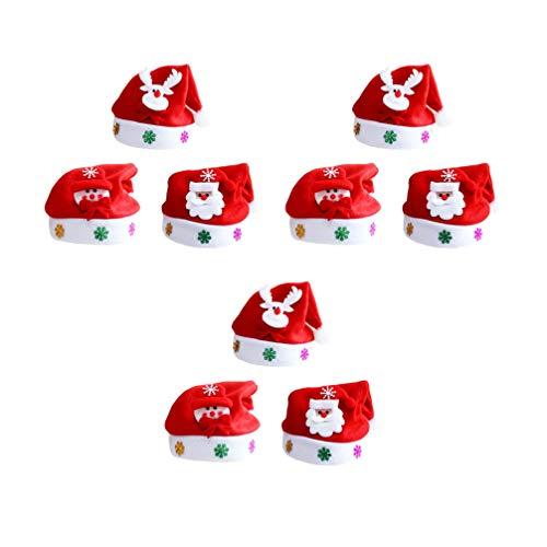STOBOK 9 Piezas LED Sombrero de Santa Claus Gorro de Navidad con Luz para Adultos Accesorio para Disfraz de Navidad
