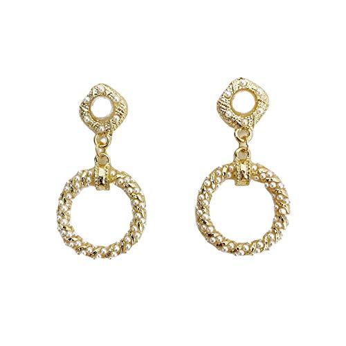 S925 aguja de plata pendientes de perlas retro temperamento femenino personalidad salvaje anillo hueco pendientes pendientes