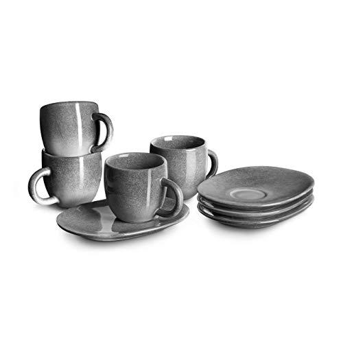 Espressotasse mit Untertasse Misty Cliff 4er-Set, Steingut
