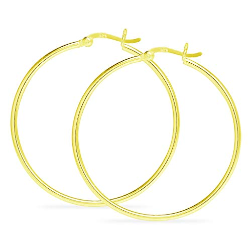 925 Sterling Silver Yellow Gold Flashed High Polished Round Thin Lightweight Unisex Click-Top Tube Hoop Earrings, 45MM