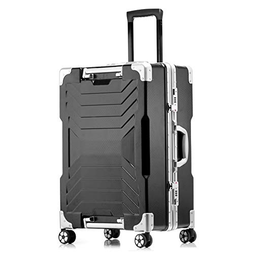 ADDG Aluminum Frame PC Travel Trolley Case 4 Wheel Luggage Suitcase Bag Business Password Box,Black,24 inches