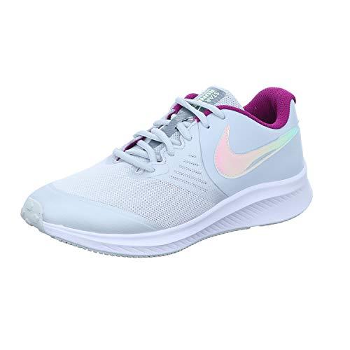 Nike Star Runner 2 Power (PSV), Running Shoe, Pure Platinum/Multi-Color-Barely Volt-Red Plum-White, 38 EU