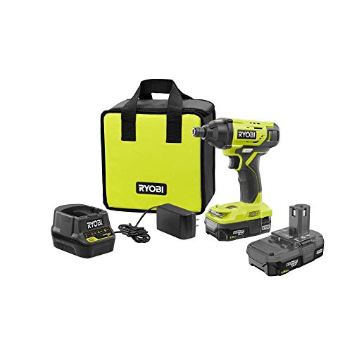 Ryobi P235AK 18-Volt ONE+ Lithium-Ion Cordless 1/4 in. Impact Driver Kit with (2) 1.5 Ah Batteries, Charger, and Bag