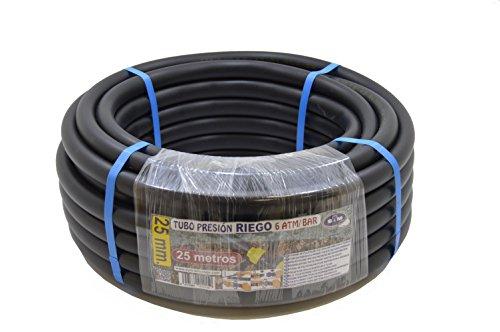S&M 012150 012150-Manguera de riego Polietileno 25 x 6 atm-25 Metros Color Negro, 46.00x46.00x16.00 cm