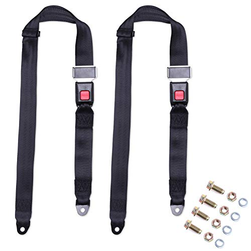 Lotyes Universal 2 Points Seat Belts Adjustable Harness Kit for Go Kart, UTV, Buggies, Truck and Other Vehicles