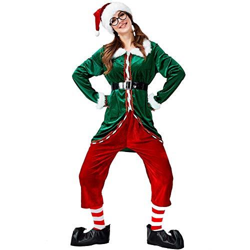 ZXYSHOP Set De Duende NavideñO Verde Traje De Mujer Y Hombre De Disfraz De Navidad De Duendecillo De Muneco De Nieve De Papa Noel Elf Female-L