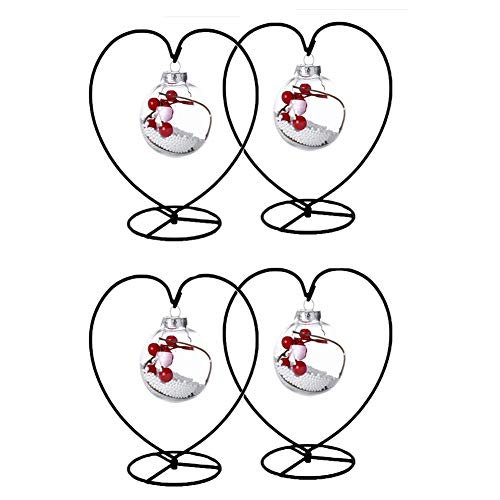 Ornament Display Stand Holder Home Wedding Decoration Rack for Hanging Glass Globe Pot Stand Iron Pothook Stand Terrarium Witch Ball (4, Big Heart)