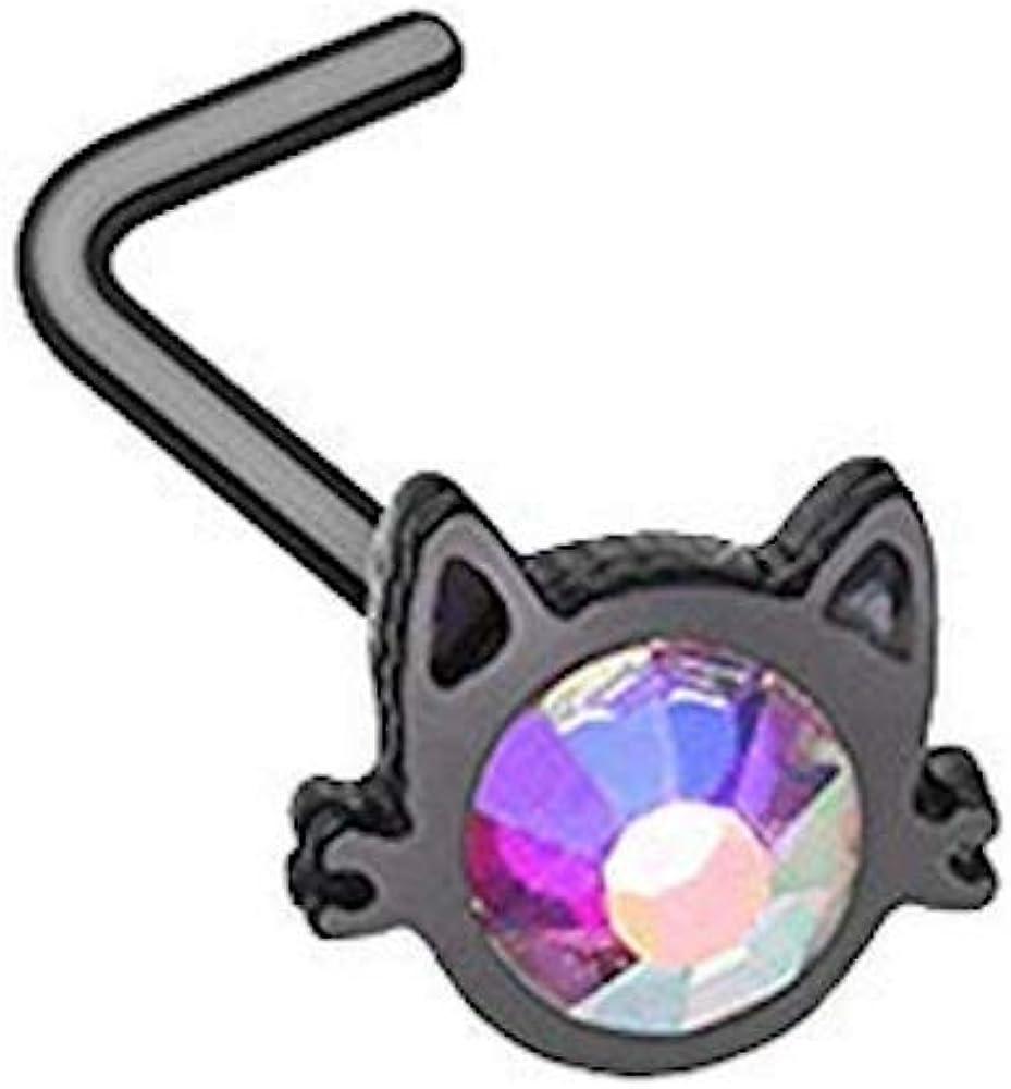 Amelia Fashion 20 Gauge Black Aurora Borealis Cat Face Silhouette L-Shape Nose Stud 316L Surgical Steel