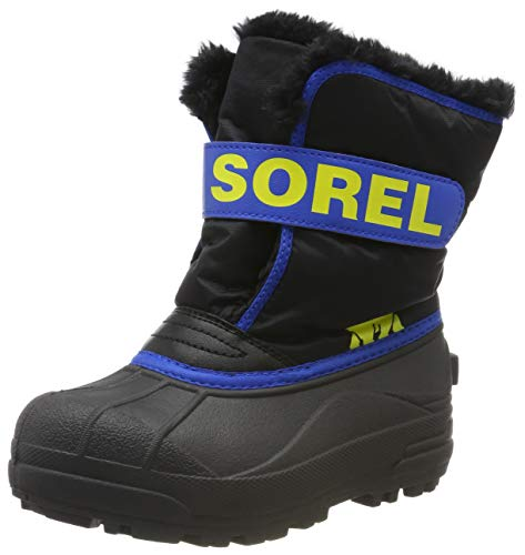 Sorel - Youth Snow Commander Snow Boots for Kids, Black, Super Blue, 11 M US
