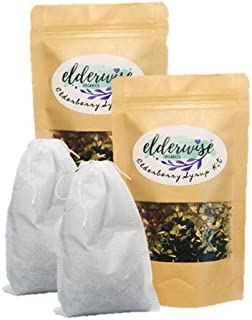 Elderberry Syrup Kits 2X - Each Makes Approx. 16oz - Comes with Brewing Bag - Organic Ingredients - DIY - Elderberries - Rosehips - Ginger - Echinacea - Cinnamon - Cloves - Elderwise Organics