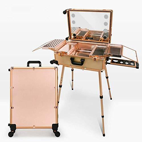 YQSHYP Makeup Train Case, Aluminum Cosmetic Organizer Box Bag with LED & Mirror, Large Capacity Beauty Artist Cosmetic Tools Storage Ki